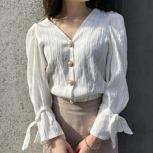 bell sleeve pearl blouse