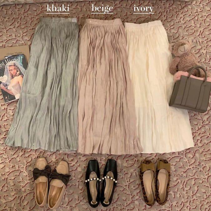 shiny pleats skirt-0