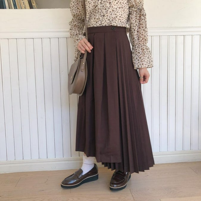 ダークチョコプリーツスカート-0