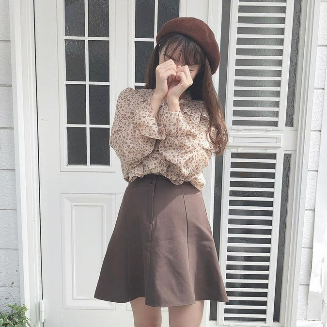button flare skirt-0