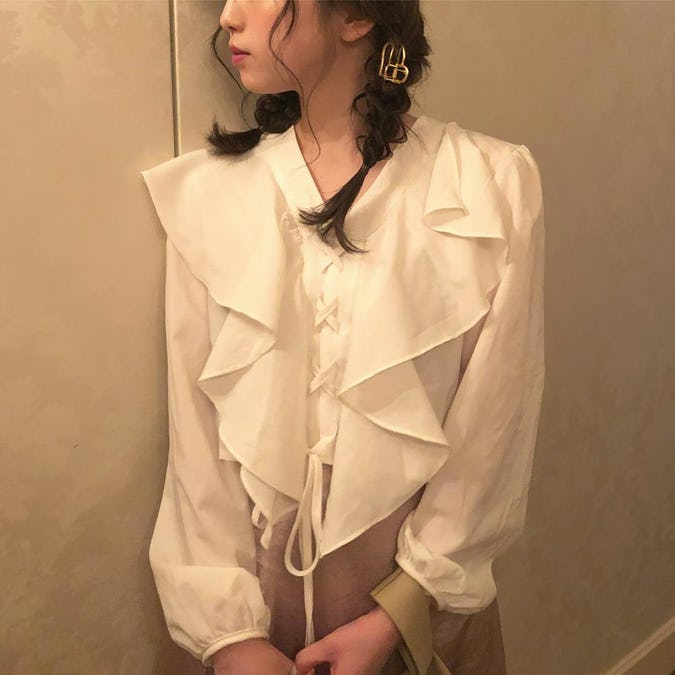 lace up frill blouse-0