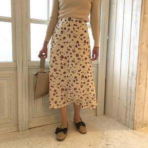 feminine flower A line skirt