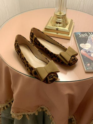girly leopard square ballet shoes