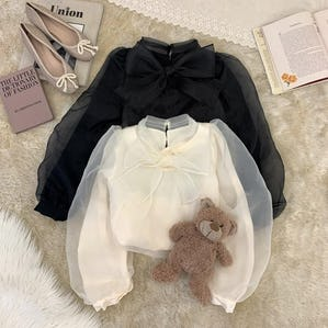 ribbon tulle puff long sleeve bl