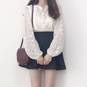 flower lace peplum blouse