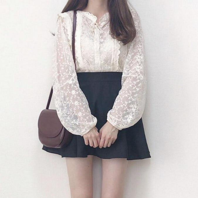 flower lace peplum blouse-0