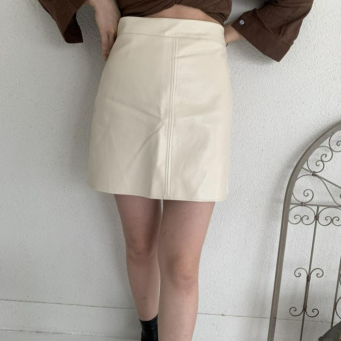 leather mini skirt-0
