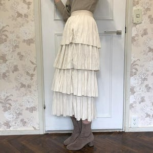 fril suede skirt