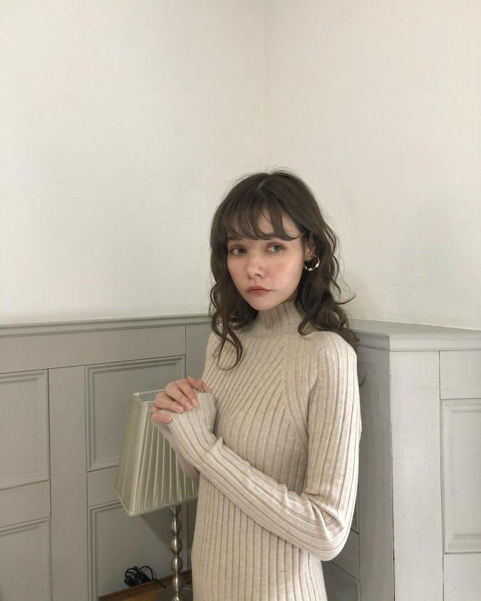 rib knit long op