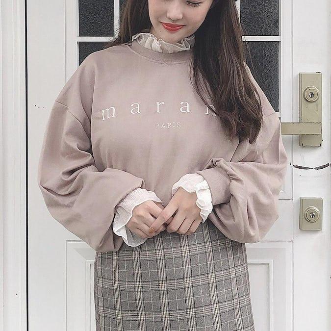 frill crepe blouse
