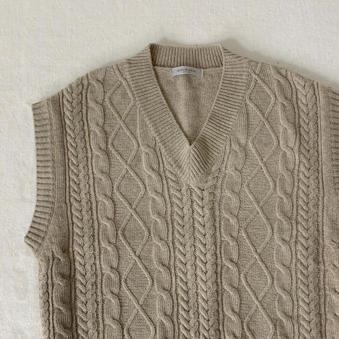 cafe latte knit vest