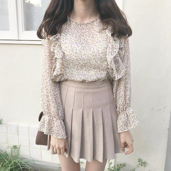 flower waist ribbon blouse