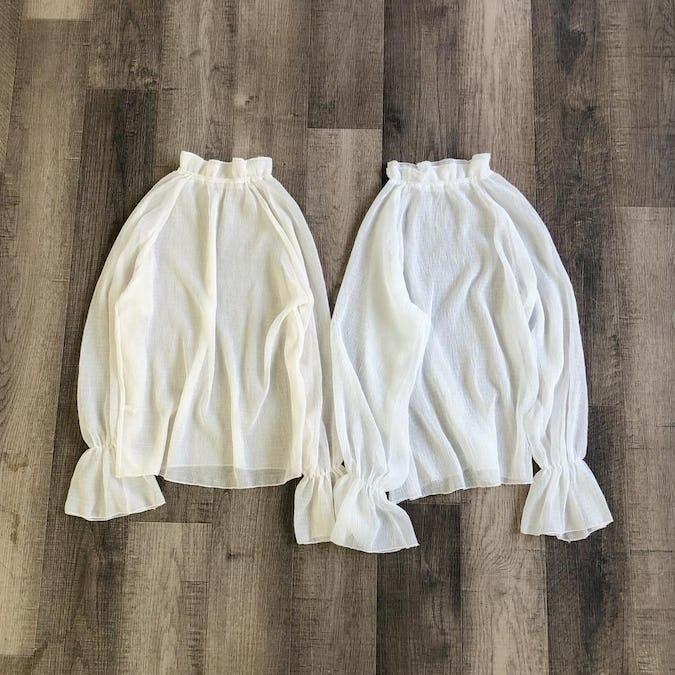 frill crepe blouse-0