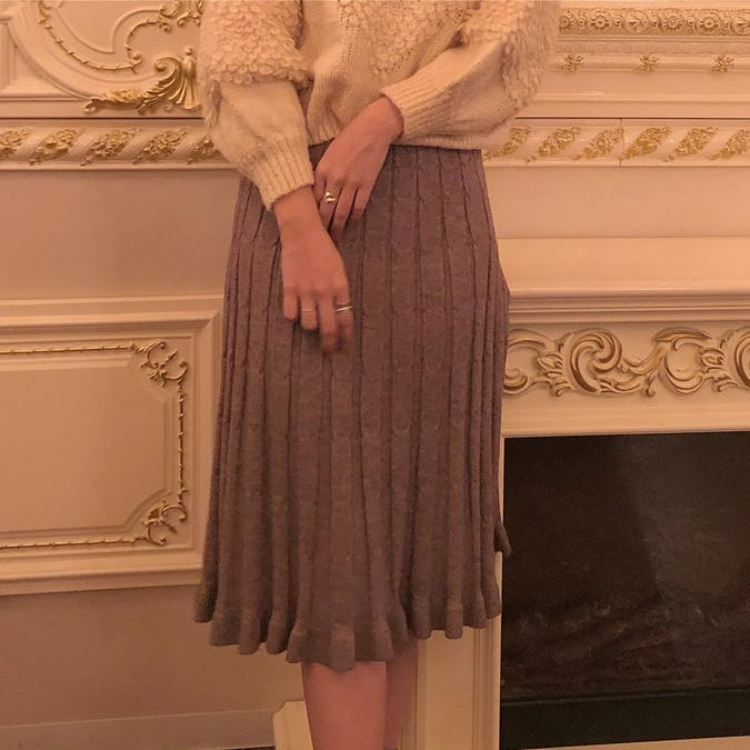 cable knit skirt-0