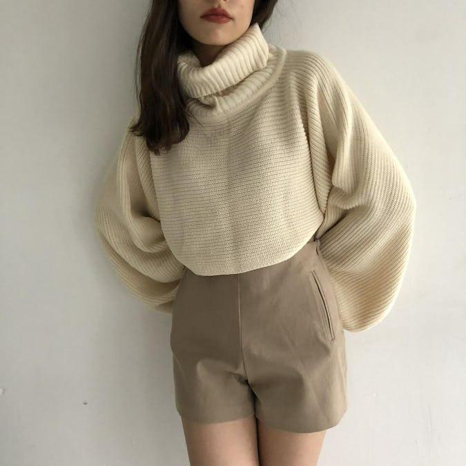 knit vest&turtle set