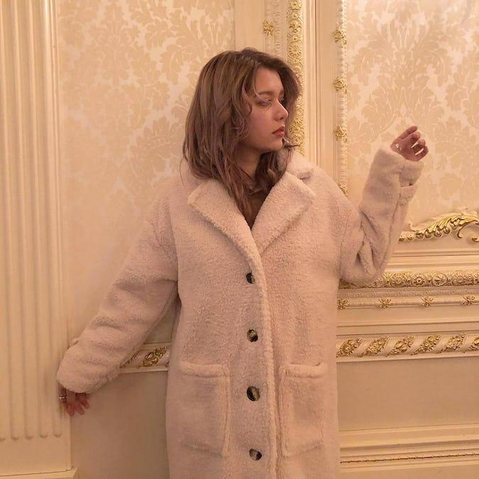 catty boa long coat