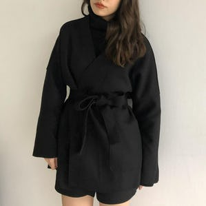 waist ribbon short coat