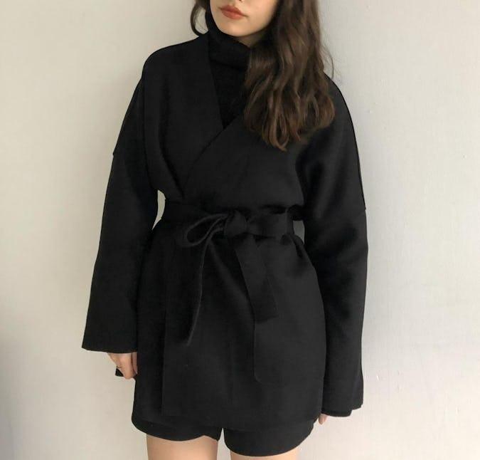 waist ribbon short coat-0