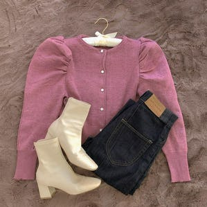 lady puff long knit