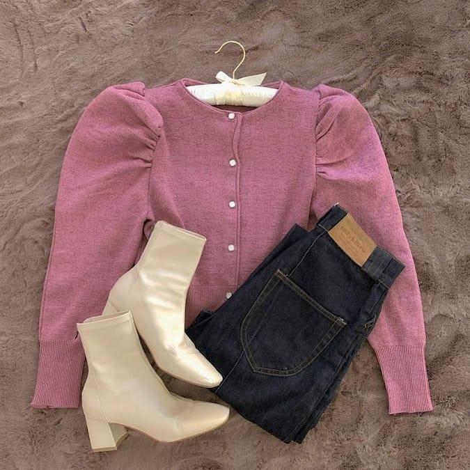 lady puff long knit-0
