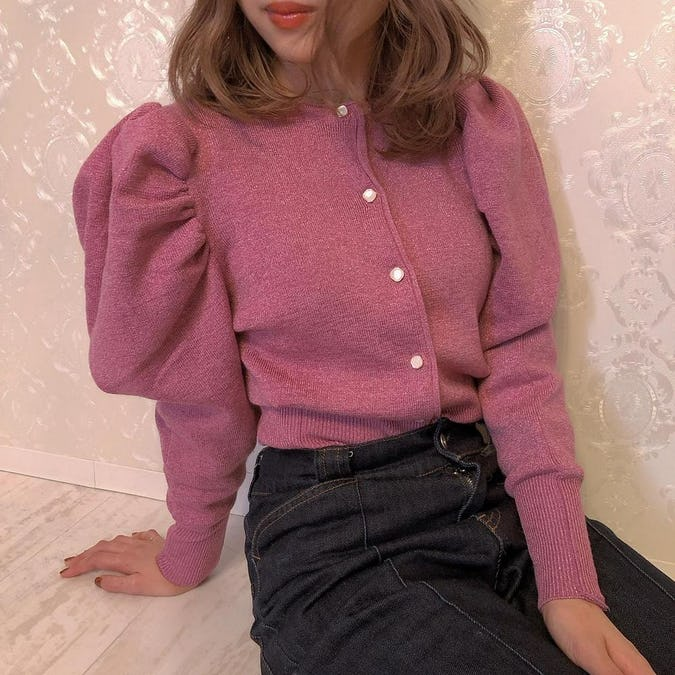 lady puff long knit