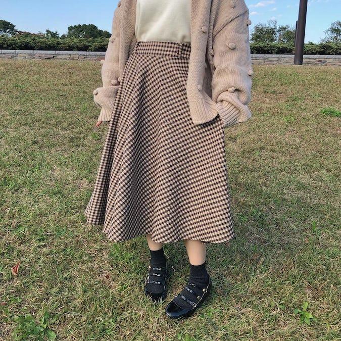 check flare skirt-0