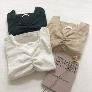 square v neck rib knit