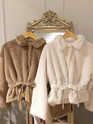mellow's ribbon fur coat