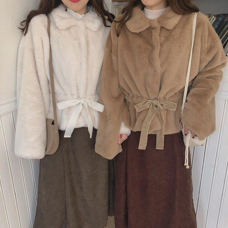 mellow's リボンファーコートの画像2枚目