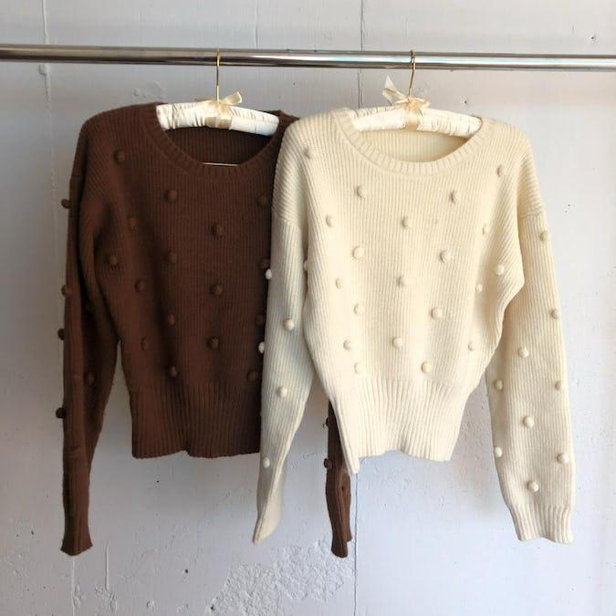 pon pon sleeve knit