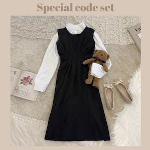 simple knit cami op & pearl shine bl