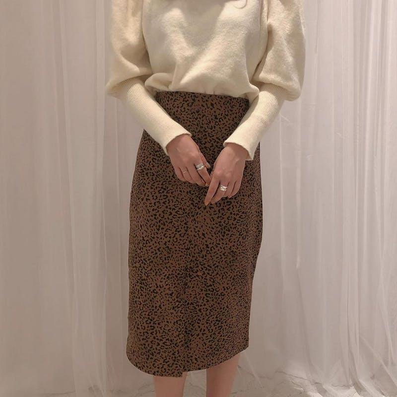 レオパードタイトスカートの画像1枚目