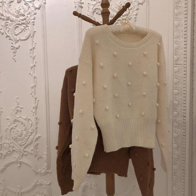 pon pon sleeve knit-0