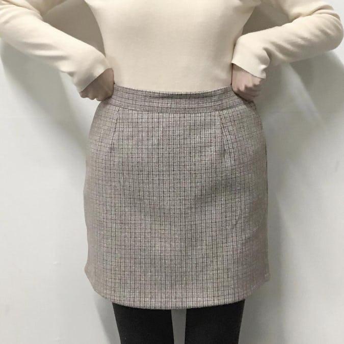 tweed check skirt-0