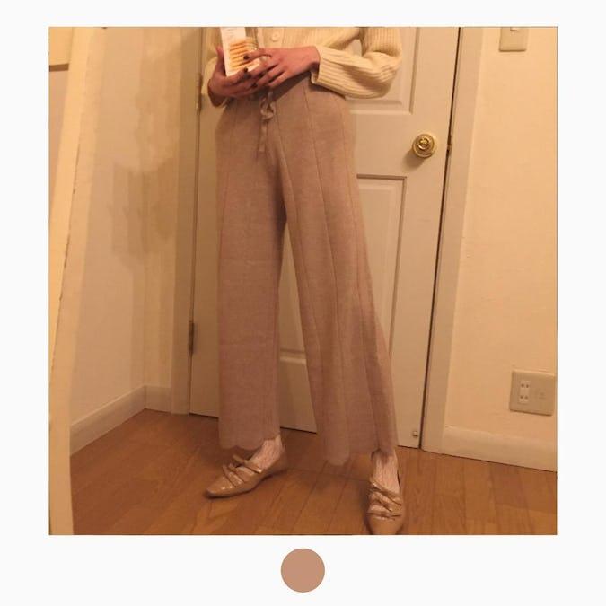 scallop knit pants-0