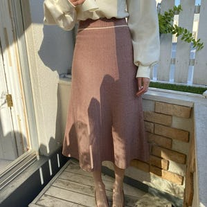【12/5~順次発送】herringbone knit skirt