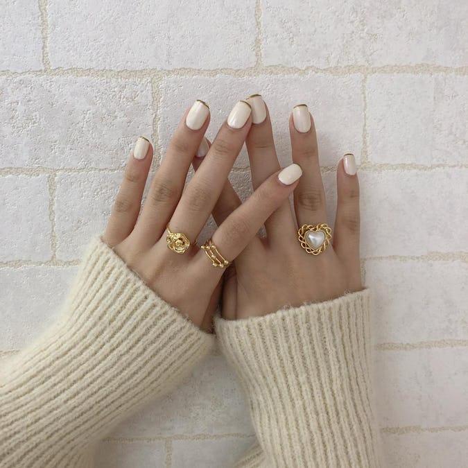 lovely rose&pearl ring set
