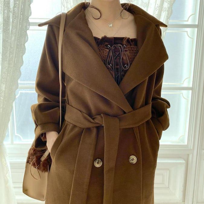 【12月中旬〜順次発送】volume double collar coat