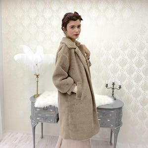 drop shoulder eco fur coat