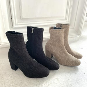 【12/5~順次発送】embossed leopard square short boots