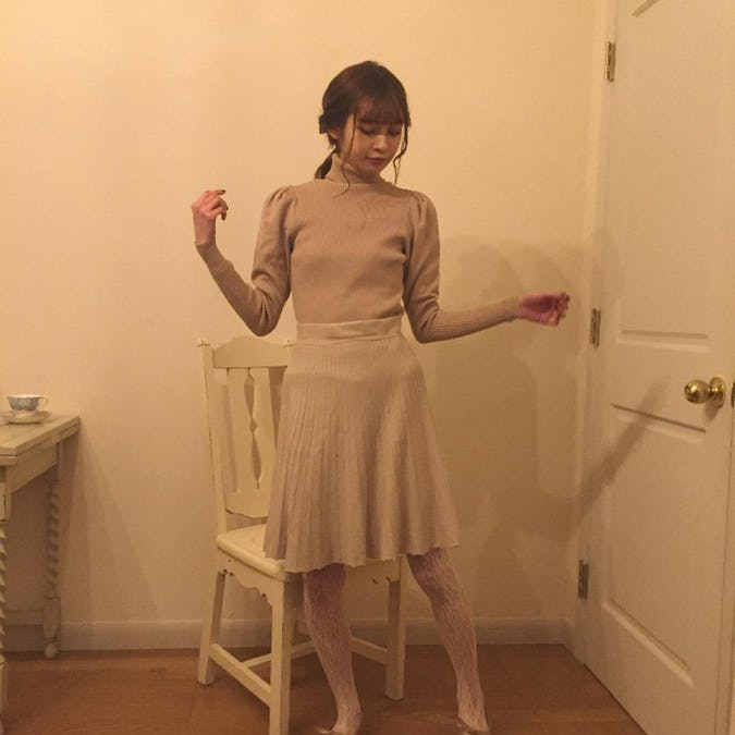 girly mini kint skirt