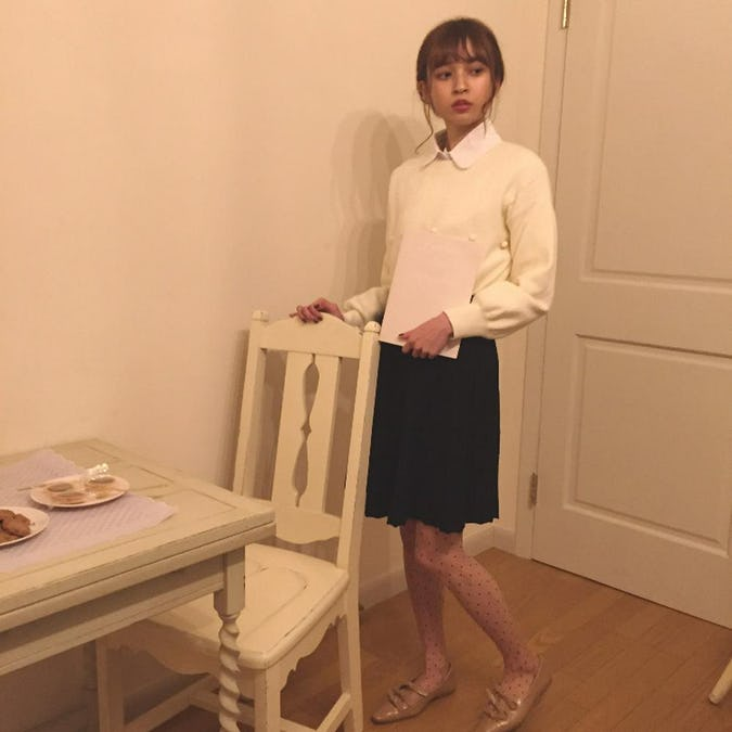 ガーリーミニニットスカート