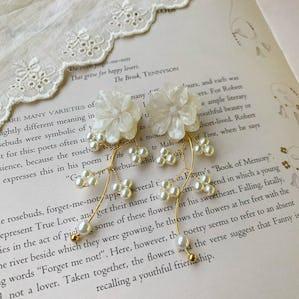 yura yura pearl flower earring