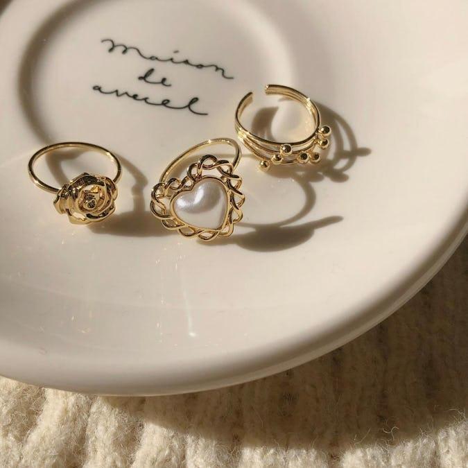 lovely rose&pearl ring set-0