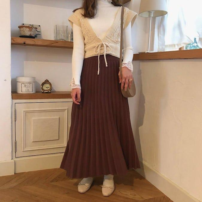 ニットプリーツスカート-0
