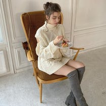 cable azato knit one-piece