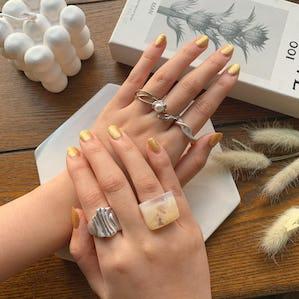 shell cube ring set