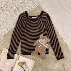 choco border knit T