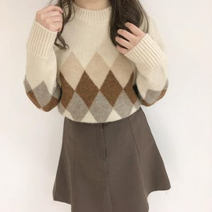argyle check knit