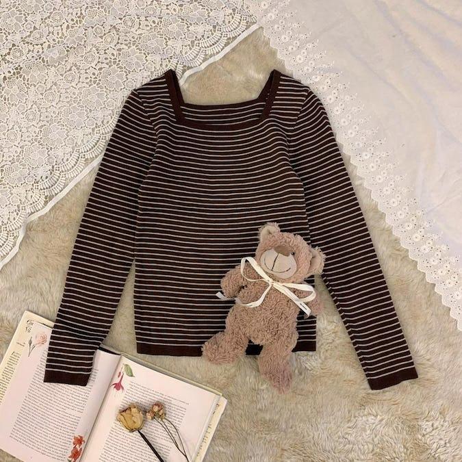 チョコボーダーニットTシャツ-0